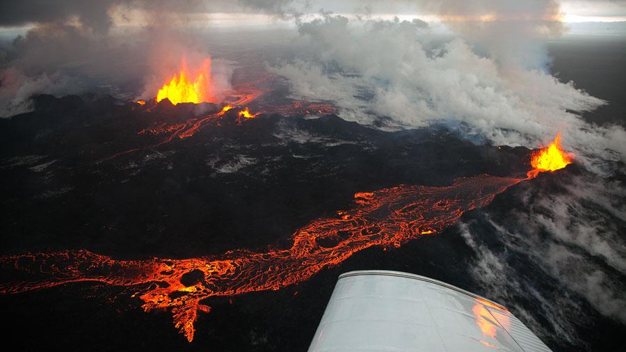 El volc�n B�rdarbunga en Islandia desde el aire Playas del mundo